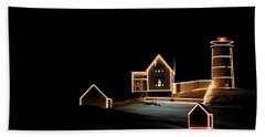 Nubble Lighthouse Christmas Lights Hand Towel
