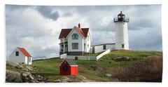 Nubble Lighthouse Hand Towel by Nancy Landry