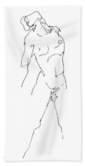 Nude-male-drawing-11 Hand Towel