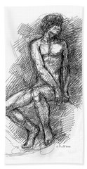 Nude Male Sketches 1 Hand Towel