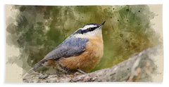 Nuthatch Watercolor Art Hand Towel