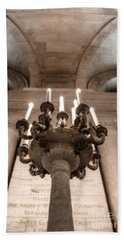Hand Towel featuring the photograph Ny Public Library Candelabra by Angela DeFrias
