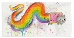Nyan Cat Watercolor Bath Towel
