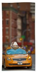 Bath Towel featuring the digital art Taxi by Jerry Fornarotto