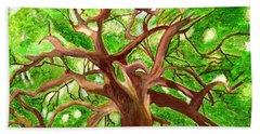 Bath Towel featuring the painting Oak Tree by Magdalena Frohnsdorff