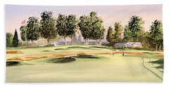 Hand Towel featuring the painting Oakmont Golf Course 14th by Bill Holkham