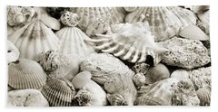 Hand Towel featuring the photograph Ocean Seashells 2 B W by Andee Design