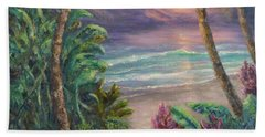 Ocean Sunrise Painting With Tropical Palm Trees  Hand Towel