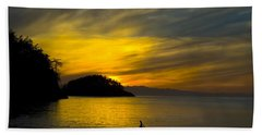 Hand Towel featuring the photograph Ocean Sunset At Rosario Strait by Yulia Kazansky
