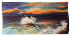 Hand Towel featuring the painting Ocean Sunset by Michelle Joseph-Long