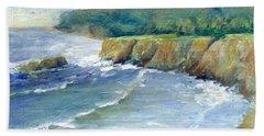 Ocean Surf Colorful Original Seascape Painting Bath Towel by Elizabeth Sawyer