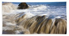 Ocean Waves Breaking Over The Rocks Photography Bath Towel by Jerry Cowart