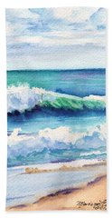 Hand Towel featuring the painting Ocean Waves Of Kauai I by Marionette Taboniar