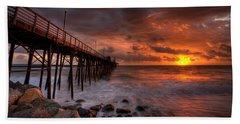 Oceanside Pier Perfect Sunset -ex-lrg Wide Screen Hand Towel