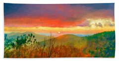 October Sunrise Painting On The Blue Ridge Parkway Hand Towel