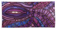 Hand Towel featuring the painting Octopus Eye by Barbara St Jean