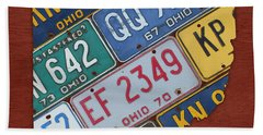 Ohio State Map Made Using Vintage License Plates Hand Towel