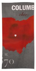 Ohio State University Buckeyes Columbus Ohio College Town State Map Poster Series No 005 Hand Towel by Design Turnpike