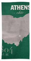 Ohio University Athens Bobcats College Town State Map Poster Series No 082 Hand Towel