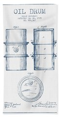 Oil Drum Patent Drawing From 1905 -  Blue Ink Hand Towel