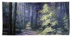 Oil Painting - Forest Light Bath Towel