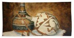 Oil Painting - Indian Pots Bath Towel