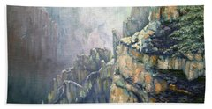 Oil Painting - Majestic Canyon Bath Towel