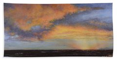 Oil Painting When The Sky Turns Color Bath Towel
