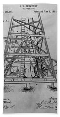 Oil Rig Patent Drawing Hand Towel