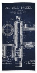 Oil Well Packer Patent From 1904 - Navy Blue Hand Towel