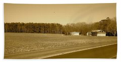 Old Barn And Farm Field In Sepia Bath Towel by Amazing Photographs AKA Christian Wilson