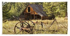 Old Barn And Plow Bath Towel