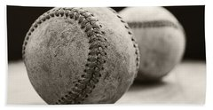 Hand Towel featuring the photograph Old Baseballs by Edward Fielding