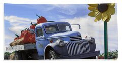 Old Blue Farm Truck  Hand Towel by Patrice Zinck