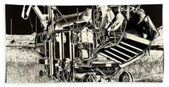 Old Case Thresher - Black And White Hand Towel