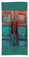 Bath Towel featuring the photograph Old Church Door Handles 1 by Becky Lupe