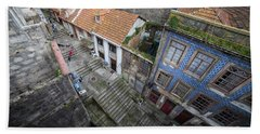 Old City Of Porto In Portugal From Above Hand Towel