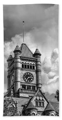 Old Dupage County Courthouse Clouds Black And White Hand Towel