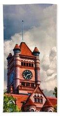 Old Dupage County Courthouse Clouds Hand Towel
