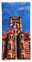 Old Dupage County Courthouse Flag Hand Towel