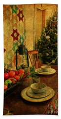 Old Fashion Christmas At Atalaya Hand Towel by Kathy Baccari