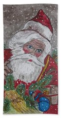 Hand Towel featuring the painting Old Fashioned Santa by Kathy Marrs Chandler