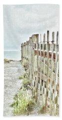 Old Fence To The Sea  Bath Towel