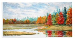 Hand Towel featuring the painting Old Forge Autumn by Roger Rockefeller