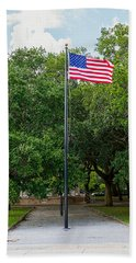 Bath Towel featuring the photograph Old Glory High And Proud by Sennie Pierson