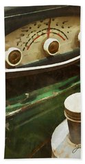 Hand Towel featuring the painting Old Green Radio by Joan Reese