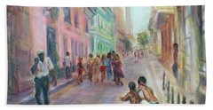 Old Havana Street Life - Sale - Large Scenic Cityscape Painting Bath Towel