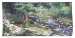 Bath Towel featuring the painting Old Mill Steam II by Lori Brackett