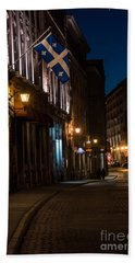 Old Montreal At Night Bath Towel by Cheryl Baxter