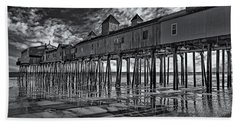 Old Orchard Beach Pier Bw Bath Towel
